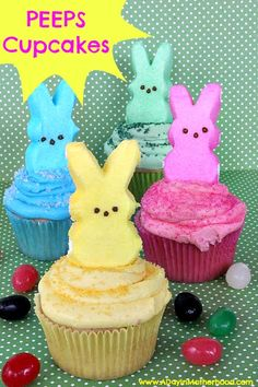 I love these fun and colorful Peeps Cupcakes!
