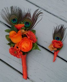 Fall Wedding Bouquet Peacock Orange Bouquet Destination Weddings - not Sure your feelings on peacock feathers but a few beautiful orange flowers do consider at least...
