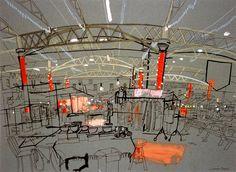 Lucinda Rogers - spitalfields market : Drawing movement/pictoral depth