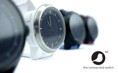 Cookoo watch connects to iPhone for alerts and notifications, uses low power bluetooth so it runs on a watch battery for a year (no recharging)