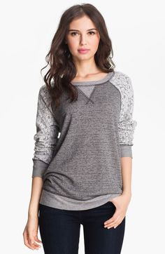 sweatshirt with lace sleeves | Olivia Moon Lace Sleeve Sweatshirt in (start of color list grey/ ivory ...