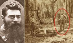 This grainy image depicts two rugged mates cutting timber, but what makes this archaic photo immortal is the man on the right with the beard is deemed 'very likely' to be Victorian bushranger Ned Kelly, in an only recently discovered image. Rare Photos, Vintage Photographs, Old Photos, Vintage Photos, Famous Outlaws, Ned Kelly, The Kelly Family, Victoria Australia, History Books