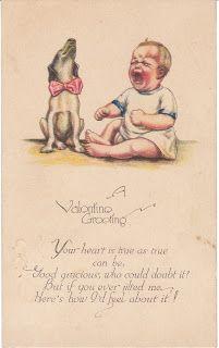 Beagle Dog and Crying Baby - Vintage Postcard