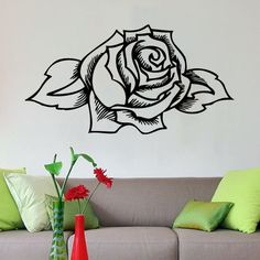 Tattoo Style Rose Old School Wall Art Sticker Decal Vinyl Home Decoration | eBay