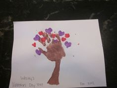 Valentine's day tree made from handprint