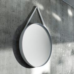HAY Strap Mirror by HAY Studio. HAY Strap Mirror is a mirror suitable for any environment. It has a powder-coated steel frame and a cool silicone grey strap. It is available in two sizes - diameter or diameter. Urban Living, Design Simples, Hay Design, Design Shop, House Design, Circular Mirror, Round Mirrors, Mirror Mirror