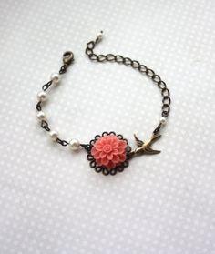 Coral Mum Flower Swarovski Ivory Pearls Tiny Swallow by Marolsha, $21.50