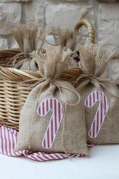 Regalo bolsas de arpillera bastón de caramelo conjunto de