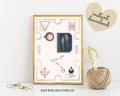 PISCES Astrology Wall Art,Horoscope Cards, Zodiac Print Girl, Tarot Cards, Star Sign,Birthday Gift, Astrology Print,Printable,Constellation