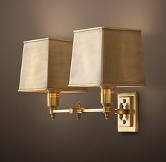 Claridge Double Sconce - Antique Brass with Metal Shade Either sides of doors? Positions 1 and 6?