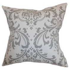 """Cotton pillow with a damask motif. Made in the USA.  Product: PillowConstruction Material: CottonColor: GrayFeatures: Insert includedDimensions: 18"""" x 18"""""""