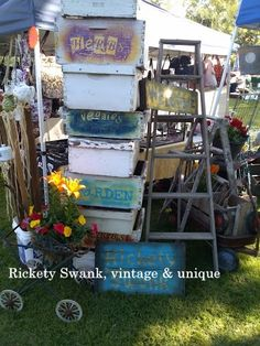 Repurposed Bee Hive boxes great for garden planters and raised beds.  $20 at Rickety Swank