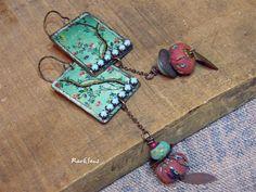 Boucles d'oreille bohème,vintage*Le petit jardin bleu*pendentif à l'arbre au look vintage japonisant,perle turquoise et tissu d'Asie : Boucles d'oreille par rare-et-sens