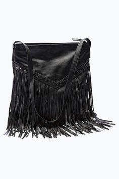 Käsilaukku, jossa hapsut