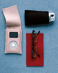 Felt Cases to protect glasses, camera, mp3 from scratches while traveling in your purse.