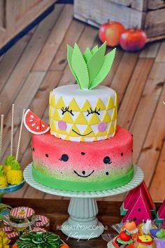 Check out the incredible birthday cake at this fresh fruit 1st birthday party! The dessert table is stunning! See more party ideas and share yours at CatchMyParty.com #catchmyparty #partyideas #fruitbirthdayparty #pineapplewatermelonbirthdaycake
