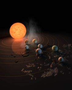 Abstract Concept of TRAPPIST-1 System - NASA Spitzer Space Telescope