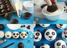 I made some cute chocolate cupcakes for you today. But because the cupcakes were mini, I was able to use chocolate chips to d Cupcake Toppings, Cupcake Recipes, Cupcake Cakes, Dessert Recipes, Cupcake Ideas, Panda Cupcakes, Creative Cakes, Creative Food, Chocolate Chip Muffins