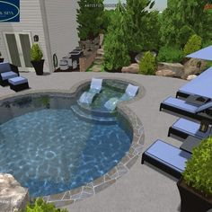 Pool Design by Wise Pool & Spa - swimming pools, swimming pool ideas, swimming pools backyard, swimming pools inground, swimming pools ideas Pools Inground, Swimming Pools Backyard, Swimming Pool Designs, 3d Pool, Pool Spa, Pool Service, In Ground Pools, Pool Ideas, Outdoor Decor