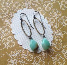 imogene earrings  brass ovals sterling silver hooks by eliwill