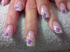 Slant French mani with single added line and one flower in corner of French Tip. French Nail Designs, Creative Nail Designs, Toe Nail Designs, French Nails, Cute Nails, Pretty Nails, Michelle Nails, Purple Nail Art, Gel Nagel Design