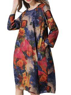 Women Vintage Flower Printed Loose Midi Dress