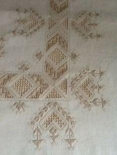 Hardanger and drawn thread piece of needlework. Very pretty!
