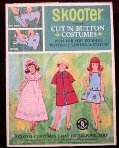 The only clothing made specifically for Skooter was this Sear's Gift set. It included a doll and three cut 'n button ensembles
