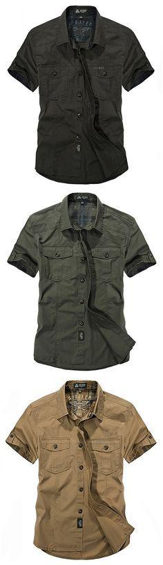 AFSJEEP Outdoor Sport Cotton Breathable Multi Pockets Cargo Short Sleeve Dress Shirts for Men