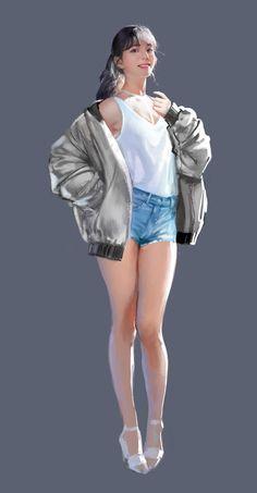 ArtStation - berrygood-gowoon, J.Won Han Female Character Design, Character Drawing, Character Design Inspiration, Character Illustration, Character Concept, Illustration Art, Girl Pose, Chica Fantasy, Cg Art