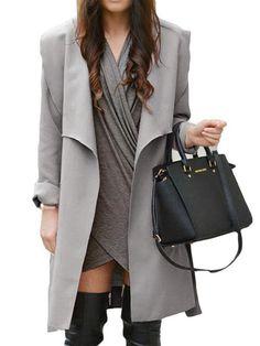 #Fashionmia - #Fashionmia Lapel Belt Plain Wrap Trench Coat - AdoreWe.com