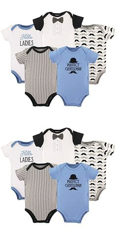 Hudson Baby Baby Boys' 5-Pack Bodysuit, Perfect Gentleman, 6-9 Months