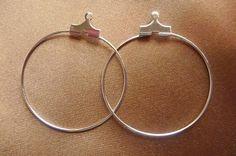 Beading hoop silver plated brass 30mm 12 Earrings by darlamarie23, $1.60