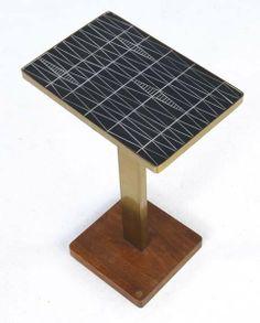 Vladimir Kagan; Wood, Brass and Carved Slate Side Table for Kagan-dreyfuss, 1950s.