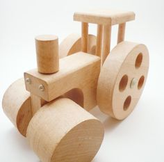 Creative Playthings Wood Steamroller Toy 1970s