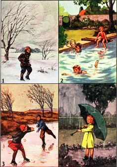 """  WARM and COLD SEASONS   """"Science Stories, Book One"""" of the Curriculum Foundation Series.  Authored by Wilbur L. Beauchamp, Gertrude Crampton and William S. Gray.  Illustrated by outstanding artists of the period.  Copyright 1933 by Scott, Foresman and Co."""
