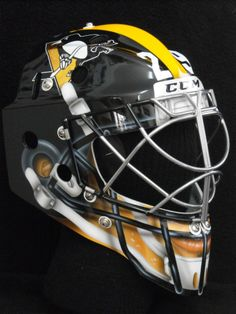 Fleury's awesome goalie mask for Stadium series game! ITS A STEELER HELMET!