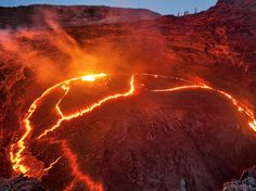 Photo of the Day Lava lake on top of Erta Ale, a very active shield volcano in Ethiopia. [lac de lave en haut de l'Erta Ale, un volcan bouclier très actif en Ethiopie. Volcano Pictures, Shield Volcano, Steinmetz, Hiking Spots, Active Volcano, Natural Phenomena, National Geographic Photos, Natural Wonders, Scenery
