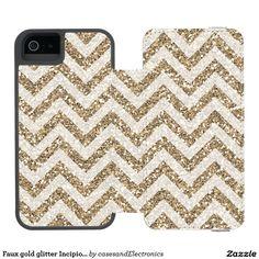 Faux gold glitter Incipio wallet case