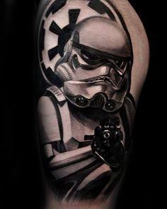 100 Stormtrooper Tattoo Designs For Men - Star Wars Ink Ideas Aztec Tribal Tattoos, Tribal Shoulder Tattoos, Mens Shoulder Tattoo, Stormtrooper Tattoo, Body Art Tattoos, Tatoos, Nerd Tattoos, Turtle Tattoos, Tattoo Art