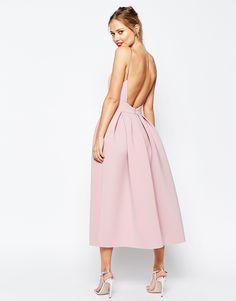 Image 2 ofASOS SALON Strappy Pinny Scuba Prom Midi Dress