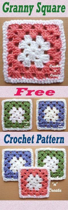 Free crochet pattern for simple crochet granny square. #crochet