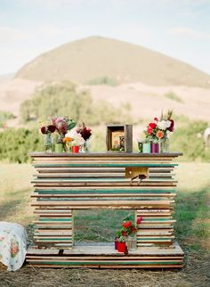 whimsical fireplace as wedding backdrop