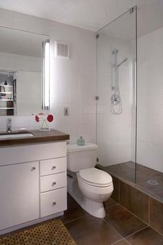 Here's a good example of big floor tiles. Less grout, less cleaning. I don't like the brown tiles though. If you want a dark floor, definitely go with all white walls (tile with paint above). Rental Bathroom, Bathroom Renos, Bathroom Ideas, Bathrooms, White Wall Tiles, Bathroom Colors, Bathroom Inspiration, Apartment Therapy, Tile Floor