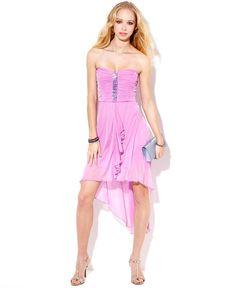 Trixxi Juniors Dress, Strapless Ruched High-Low - Juniors Dresses - Macy's