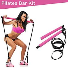 5 Resistance Loop Bands Upgraded Pilates Bar Kit With Resistance Bands Pink