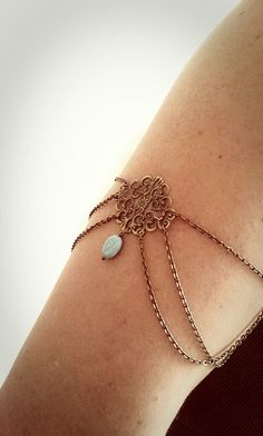 Armlet Slave Bracelet Upper Arm Bracelet Boho Upper Arm Cuff Chain Arm Band Floral Center Turquoise Bohemian Drape Arm Jewelry Tribal on Etsy, $20.02