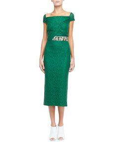 Crystal-Waist Lace Evening Dress