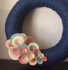 Yarn Wreath Felt Handmade Door Decoration Wave of Dots by ItzFitz,