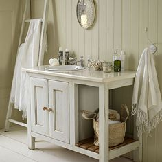 Add space    Make your bathroom seem larger by cutting down on clutter and adding storage. Baskets and boxes are great for towels and sundry items because they double as a decorative touch. Small freestanding cabinets offer another option—select closed designs to hide mess.